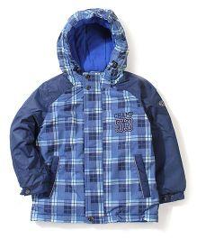 Sela Hooded Checkered Jacket - Blue