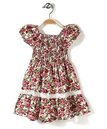 Little Fairy Smocked Dress Rose Print - Off White And Pink