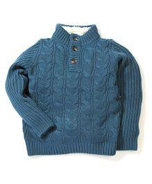 Sela Full Sleeves High Neck Sweater - Greenish Blue