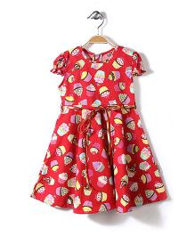 Little Fairy Cap Sleeves Frock Cupcake Print - Red