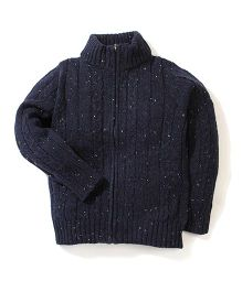 Sela Full Sleeves Zip Up Cardigan - Navy Blue
