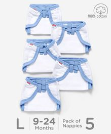 Babyhug U Shape Reusable Muslin Nappy Set Large Pack Of 5 - Blue And White