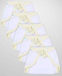 Babyhug U Shape Muslin Nappy Set Extra Small Pack Of 5 - Lemon And White