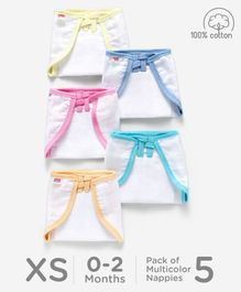 Babyhug U Shape Muslin Nappy Set Extra Small Pack Of 5 - Multicolor