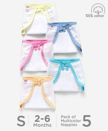 Babyhug U Shape Muslin Nappy Set Small Pack Of 5 - Multicolor