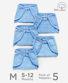 Babyhug U Shape Reusable Muslin Nappy Set Lace Medium Pack Of 5 - Blue
