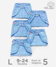 Babyhug U Shape Reusable Muslin Nappy Set Lace Large Pack Of 5 - Blue