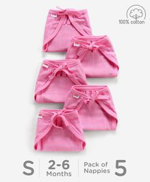 Babyhug U Shape Reusable Muslin Nappy Set Lace Small Pack Of 5 - Pink