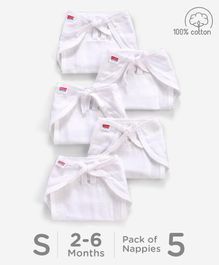 Babyhug U Shape Muslin Nappy Set Lace Small Pack Of 5 - White