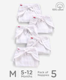 Babyhug U Shape Reusable Muslin Nappy Set Lace Medium Pack Of 5 - White