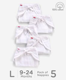 Babyhug U Shape Reusable Muslin Nappy Set Lace Large Pack Of 5 - White