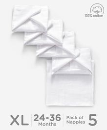 Babyhug Reusable Square Muslin Nappy Set Extra Large Pack Of 5 - White