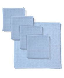 Babyhug Square Muslin Nappy Set Large Pack Of 5 - Blue