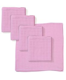 Babyhug Square Muslin Nappy Set Small Pack Of 5 - Pink