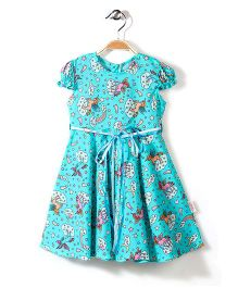 Little Fairy Puff Sleeves Frock Unicorn Print - Light Aqua