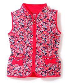 Sela Sleeveless Jacket Floral Print - Fuchsia