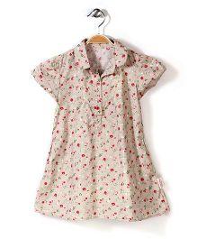 Little Fairy Cap Sleeves Frock Floral Print - Light Beige