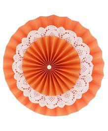 Prettyurparty Orange Rosette Paper Fans - Small