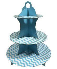 PrettyurParty Blue Chevron Cupcake Stands