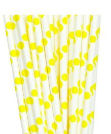 PrettyurParty Polka Dots Paper Straw Pack of 10 - White Yellow