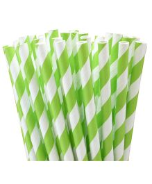 PrettyurParty Striped Paper Straw Pack of 10 - Lime Green