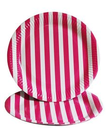 Prettyurparty Stripes Paper Plates Pack of 10 - Dark Pink