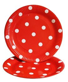 Prettyurparty Polka Dots Paper Plates Pack of 10 - Red