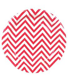 Prettyurparty Chevron Paper Plates Pack of 10 - Red