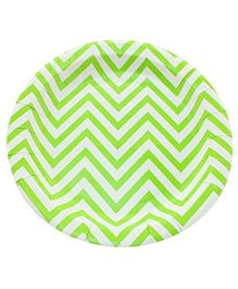 Prettyurparty Chevron Paper Plates Pack of 10 - Green