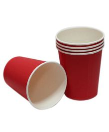 Prettyurparty Plain Paper Cups Pack of 10 Red - 266 ml