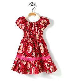 Little Fairy Smocked Dress Polka Dot Print - Red