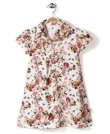 Little Fairy Collar Neck Frock Rose Print - Off White