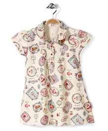 Little Fairy Cap Sleeves Frock Multi Print - Cream