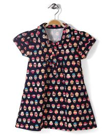 Little Fairy Collar Neck Frock Cupcake Print - Navy Blue
