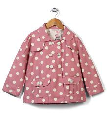 Little Fairy Full Sleeves Coat Polka Dot Print - Pinkish Peach