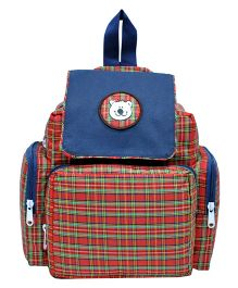 Star Gear Check Mushroom Backpack Navy & Red - 10 Inches