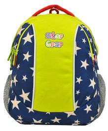Star Gear Multi Star Print Backpack Lime Green & Navy - 14 Inches
