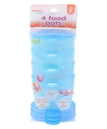 Vital Baby First Food Pots Pack Of 4 - Blue