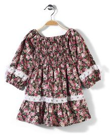 Little Fairy Long Sleeves Dress Floral Print - Green And Pink