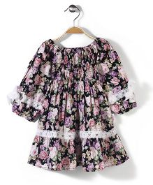 Little Fairy Long Sleeves Dress Floral Print - Black