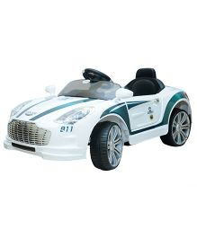 Happykids Battery Operated Ride On Police Car - White