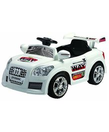 Happykids Battery Operated Ride On Race Car With Remote Control - White