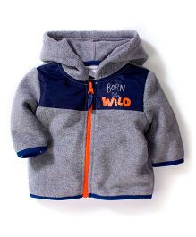 Pumpkin Patch Hooded Jacket Caption Print - Grey