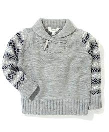 Pumpkin Patch Shawl Collar Fairisle Sleeve Sweater - Grey