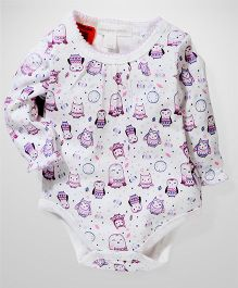 Pumpkin Patch Full Sleeves Bodysuit Owl Print - White