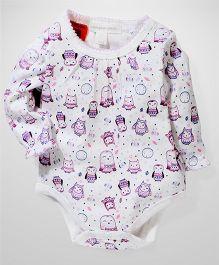 Pumpkin Patch Full Sleeves Bodysuit Owl Print - White
