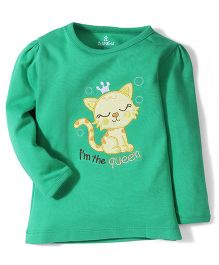 Child World Full Sleeves Top Cat Embroidery - Green