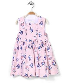 Pumpkin Patch Pinny Dress Penguin Print - Pink