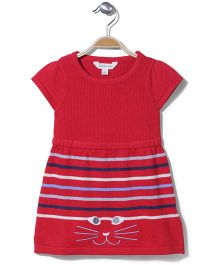 Pumpkin Patch Short Sleeves Stripe Frock - Red