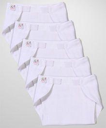 Tinycare Velcro Closure Plain White Nappy Set Small - Set Of 5